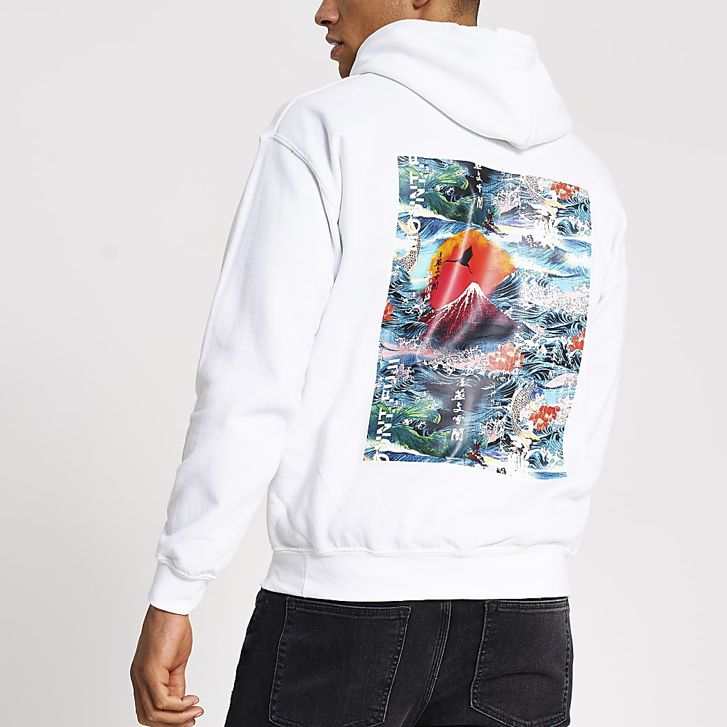 White 'Oriental' printed regular fit hoodie
