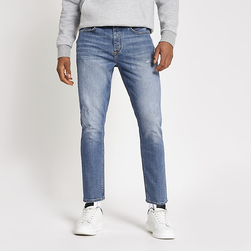 Blauwe smaltoelopende croppedJimmy jeans