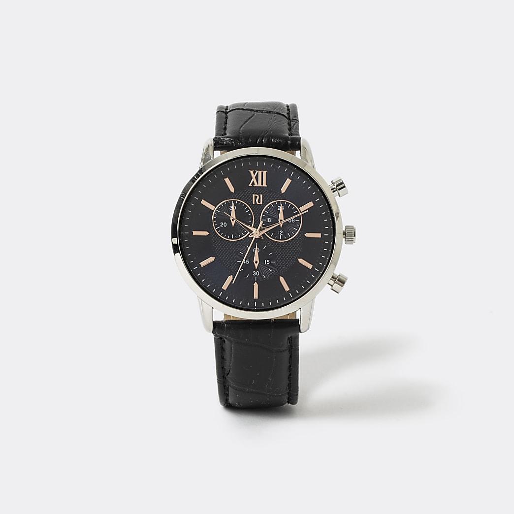 Roségoudkleurig horloge met zwart getextureerd bandje