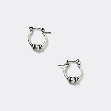 Silver colour antique ball hoop earrings