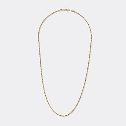 Gold colour twisted rope chain necklace