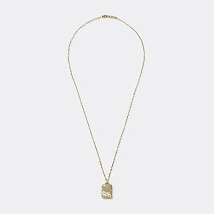 Gold colour leaf embossed pendant necklace