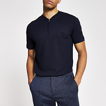 Masion Riviera navy slim fit half zip T-shirt