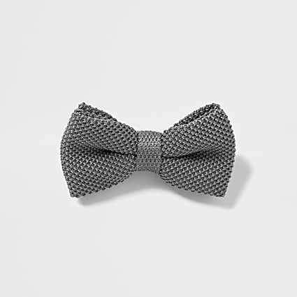 Grey textured bow tie