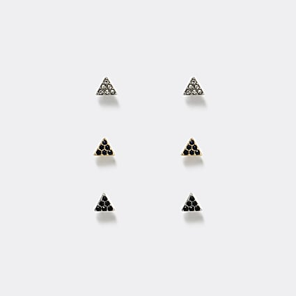 Silver diamante triangle stud earrings 3 pack