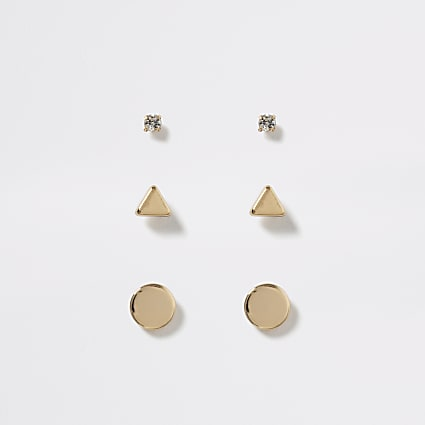 Gold colour stud earring 3 pack