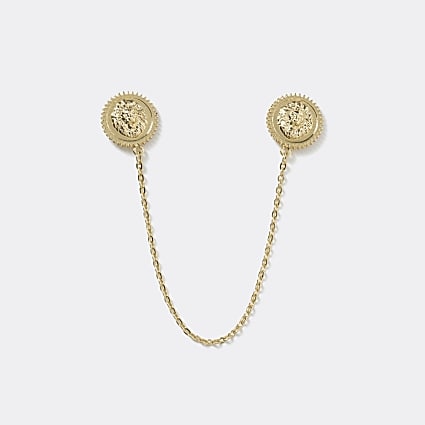 Gold colour lion embossed collar tips