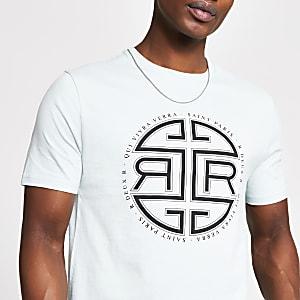 Groen slim-fit T-shirt met print en korte mouwen