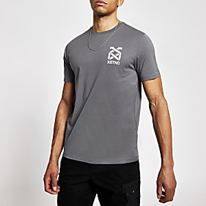 XSTNC - Kurzärmeliges Slim Fit T-Shirt in Grau