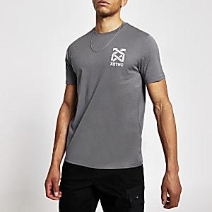 Grijs slim-fit T-shirt met 'XSTNC'-print en korte mouwen