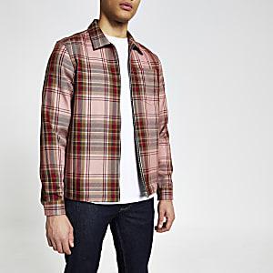 Rood geruit regular-fit overshirt met rits voor