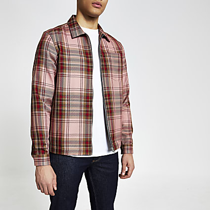 Red check zip front regular fit overshirt