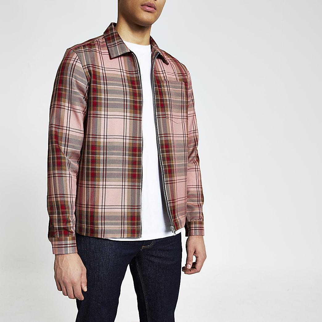 Rote, karierte Regular Fit Hemdjacke mit vorderem Reißverschluss