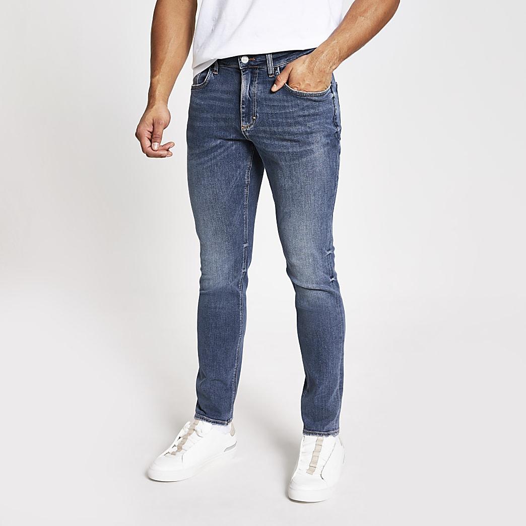 Blauwe washed slim-fit Dylan jeans