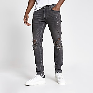 Aron – Graue Skinny Jeans in Used-Look