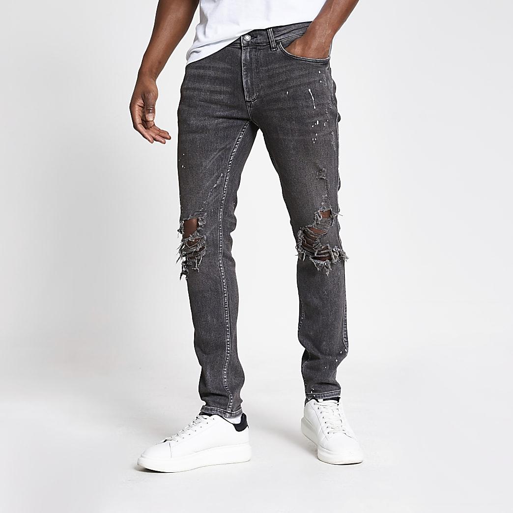 Sid – Graue Skinny Jeans im Used-Look