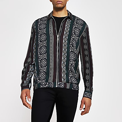 Black print zip front long sleeve overshirt