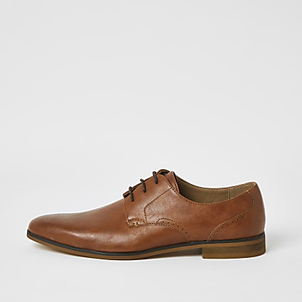 Brown lace-up derby shoes