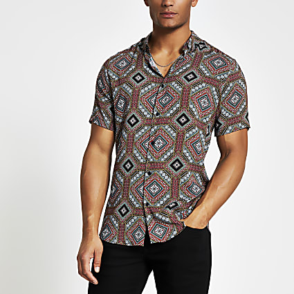 Navy printed short sleeve slim fit shirt