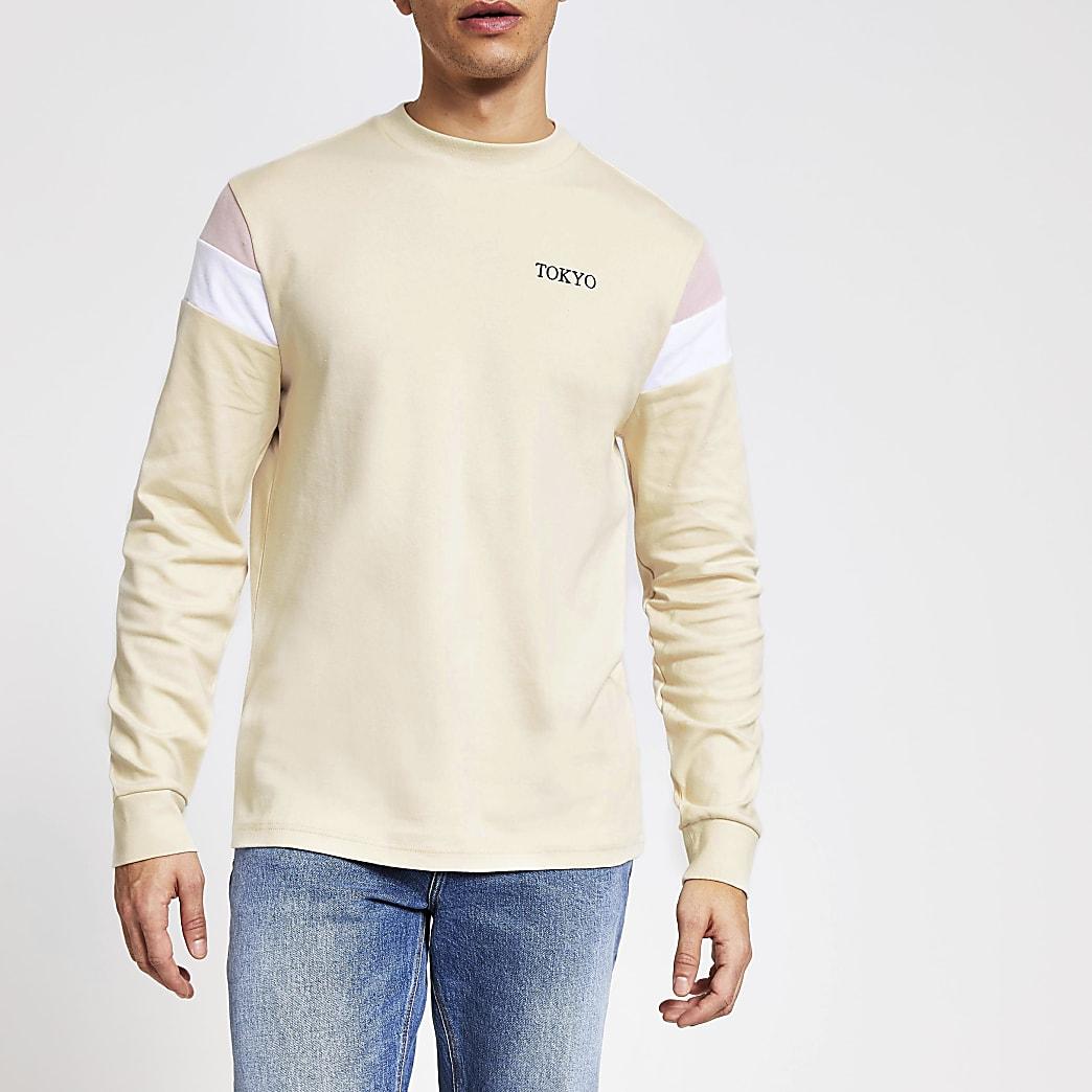 Ecru slim-fit top met lange mouwen met kleurvlakken
