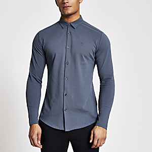 Maison Riviera – Blaues Muscle Fit Jerseyhemd