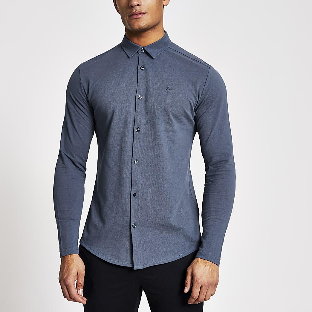 MaisonRiviera- Blauw muscle-fit jersey overhemd