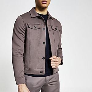 Veste western marron avec boutonnière à l'avant