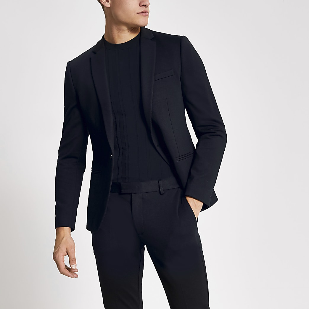 Navy single breasted super skinny suit jacket