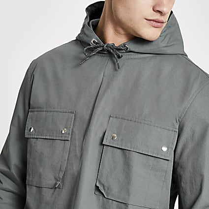 Blue hooded double pocket overhead jacket