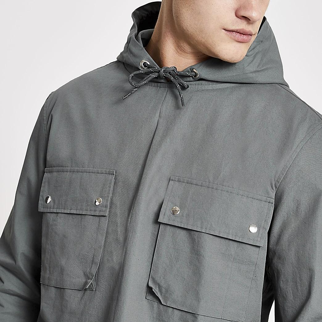 Blue hooded double pocket overhead jacket