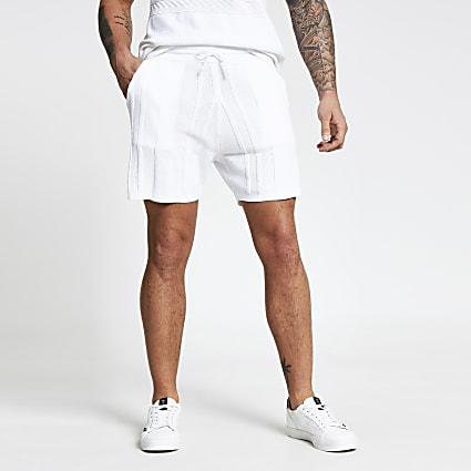 Ecru knitted textured shorts