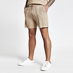 Maison Riviera - Beige geribbelde gebreide shorts