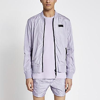 Pastel Tech purple nylon bomber jacket