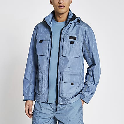 Pastel Tech blue nylon pocket front jacket