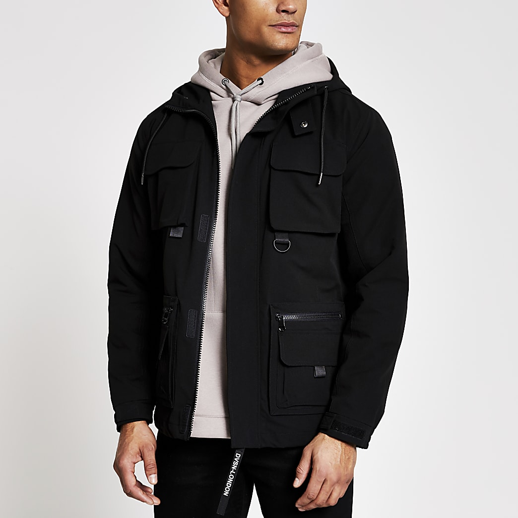Black hooded pocket front utility jacket