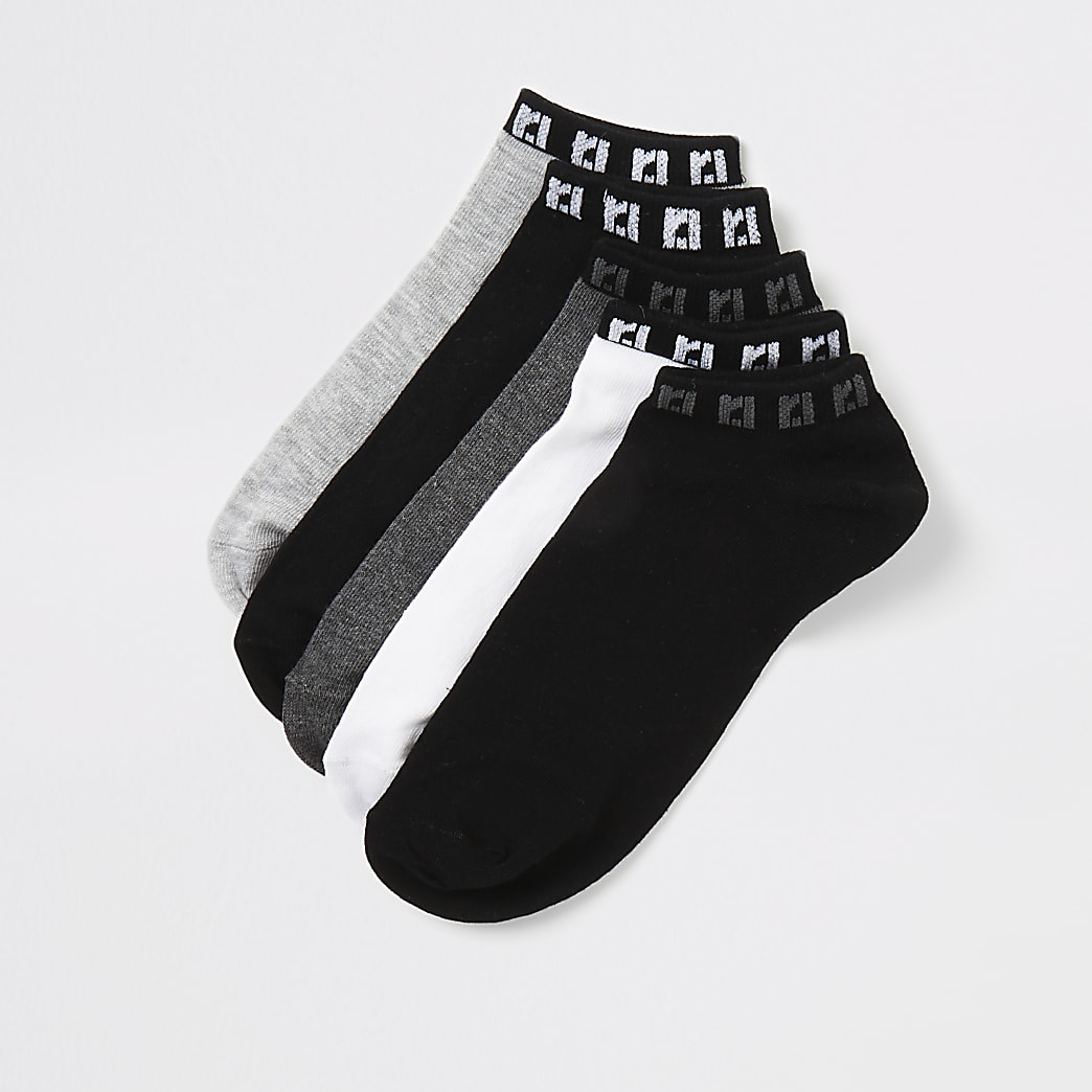 Grey RI trainers socks 5 pack