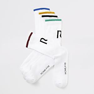 Lot de5 chaussettes blanches RIà bordure de couleur
