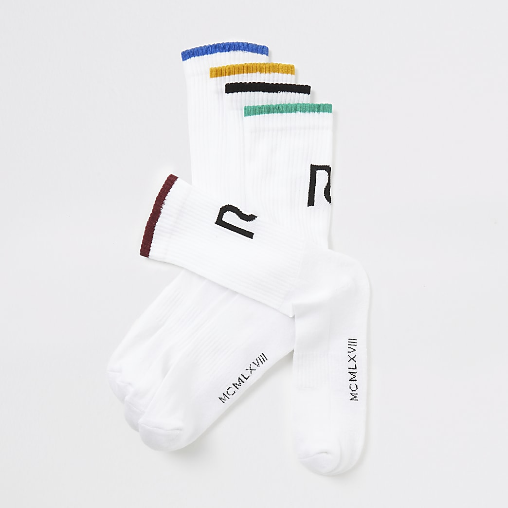 White RI colour trim socks 5 pack