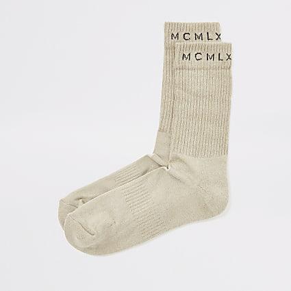 MCMLX beige ribbed tube socks