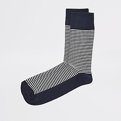 Navy stripe textured socks