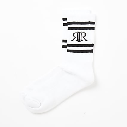 White ribbed RIR stripe socks