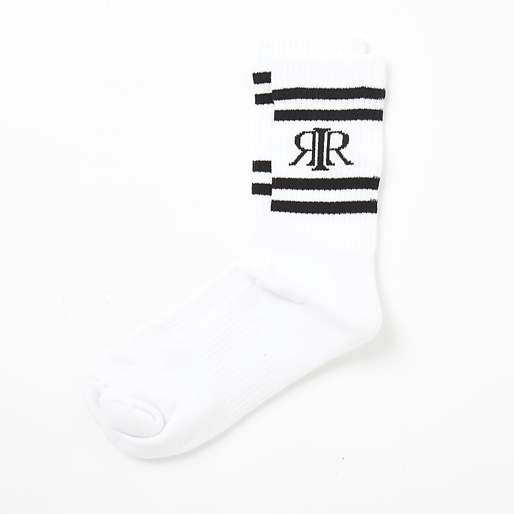 Witte geribbelde RIR sokken met strepen