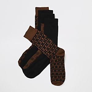 Lot de 5 paires de chaussettes marron à monogramme RI