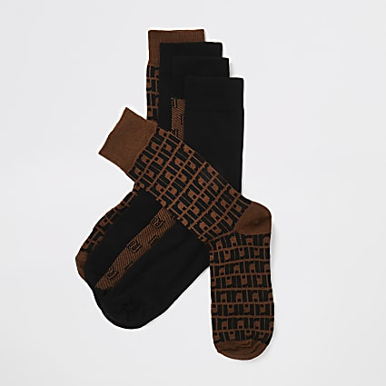 Brown RI monogram socks 5 pack