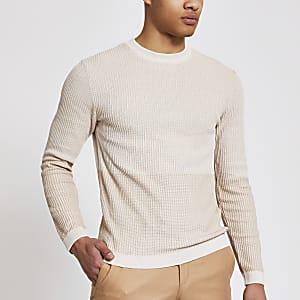 MaisonRiviera- Kiezelkleurige gebreide slim-fit trui