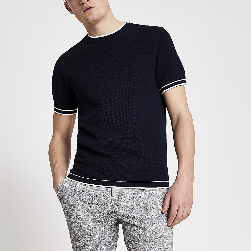 Navy slim fit tipped knitted T-shirt