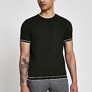 Grünes Slim Fit Strick-T-Shirt mit Zierstreifen
