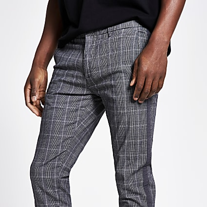 Grey check tape side super skinny trousers