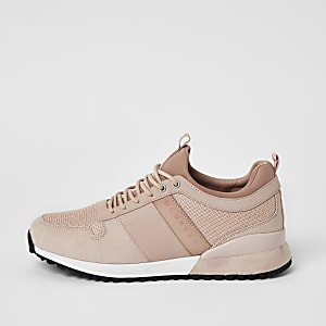 MCMLX pink lace-up heel clip trainers