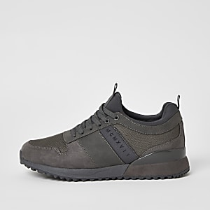 MCMLX grey lace-up heel clip trainers